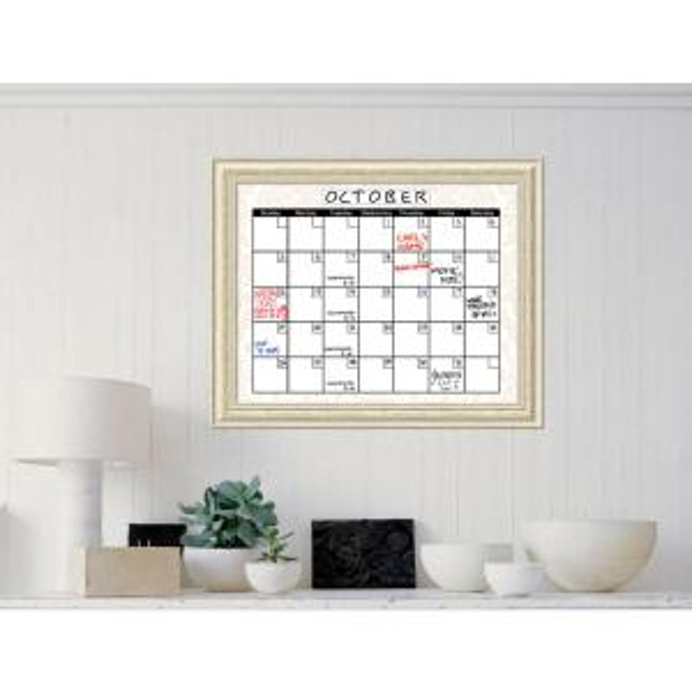 Amanti Art Beige Damask Calendar 33 inch W x 27 inch H Framed Glass Dry Erase Board by Amanti Art