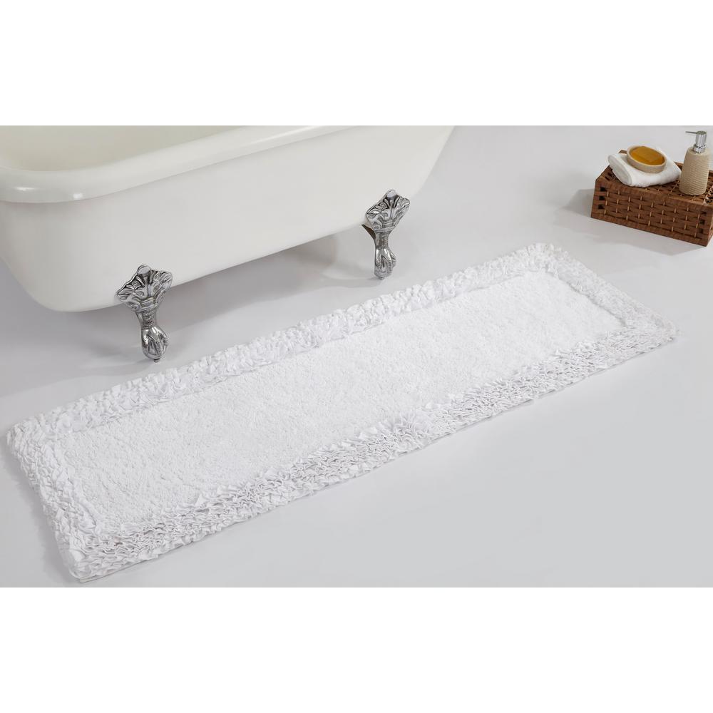 Ruffle White 20 in. x 60 in. Cotton Bath Rug