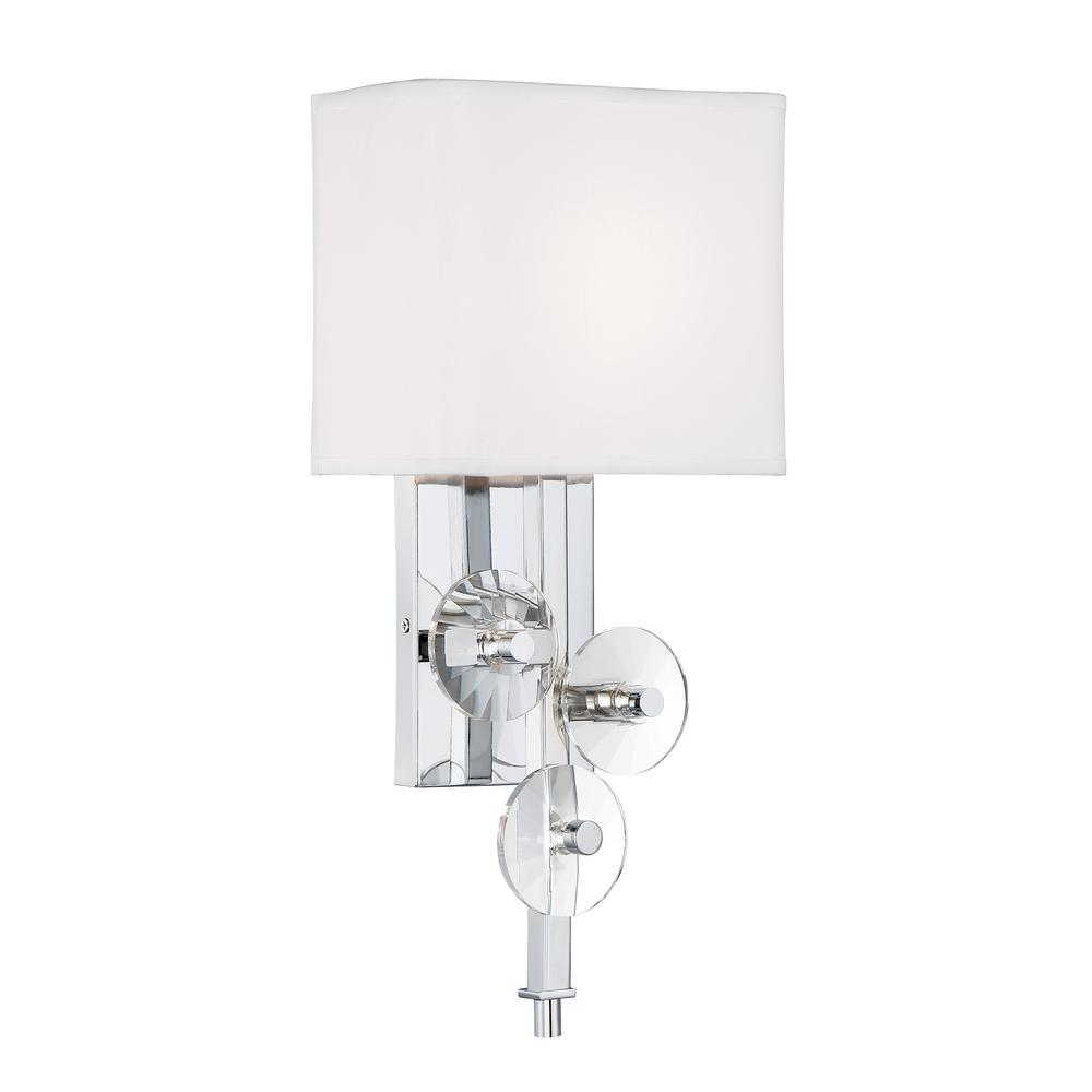 Varaluz Rogue Decor Engeared 1-Light Chrome Wall Sconce with White Fabric Shade