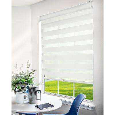Basic White Cordless Cut-to-Width Light Filtering Dual Layer Zebra Roller Shade 58 in. W x 72 in. L