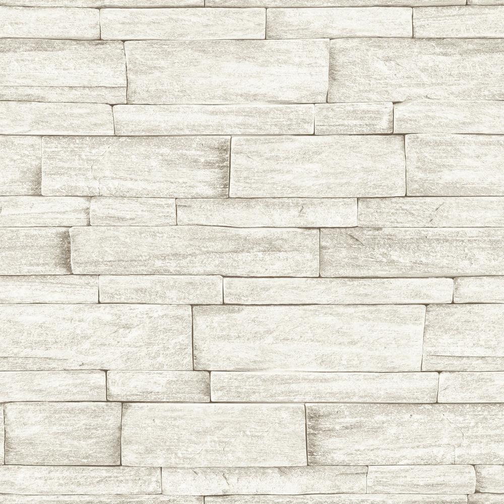 Strata Ledgestone Beige Removable Wallpaper