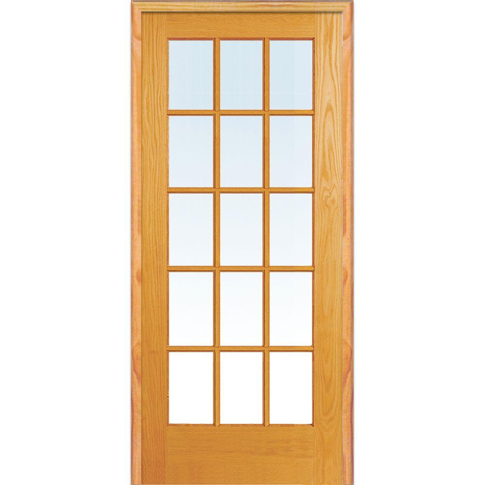 Genial 32 In. X 80 In. Left Hand Unfinished Pine Glass 15 Lite