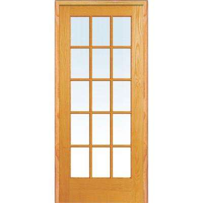 32 in. x 80 in. Left Hand Unfinished Pine Glass 15-Lite Clear True Divided Single Prehung Interior Door