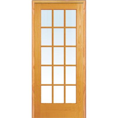 30 in. x 80 in. Left Hand Unfinished Pine Glass 15-Lite Clear True Divided Single Prehung Interior Door
