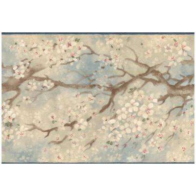 Distressed Sakura Cherry Bloom Blue Prepasted Wallpaper Border