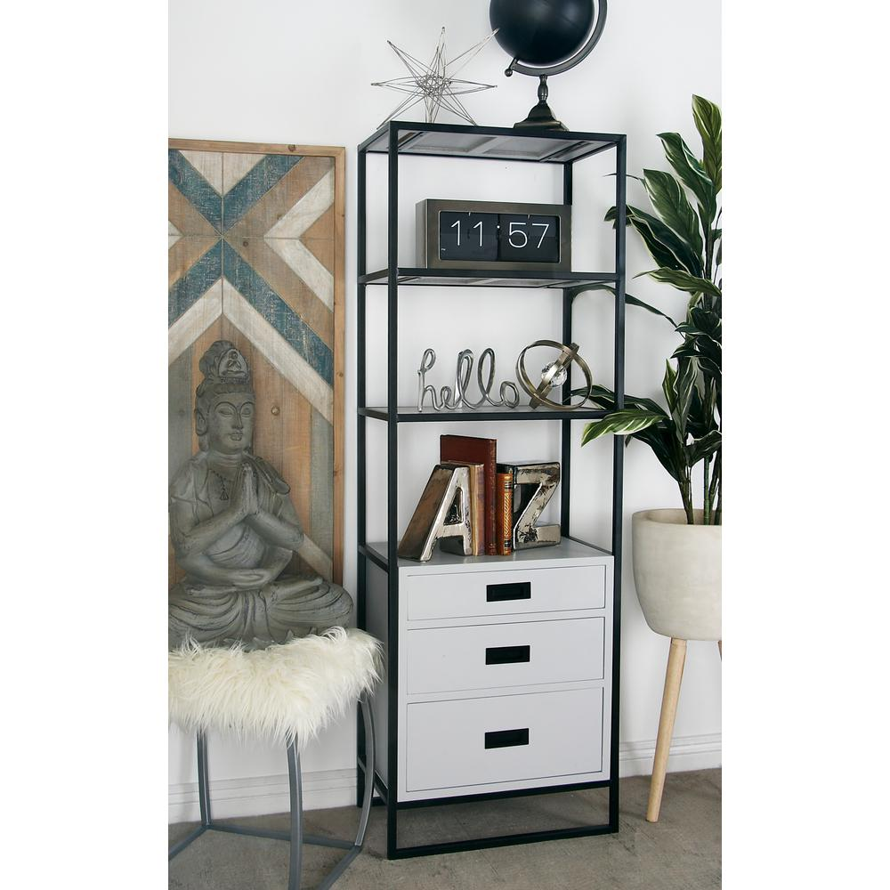 White 3-Tier Shelving Unit with 3 Drawers and Metallic Black Frame