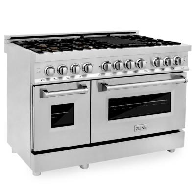 ZLINE 48 in. Professional 6.0 cu. ft. 7 Gas Burner/Electric Oven Range in Stainless Steel with Brass Burners