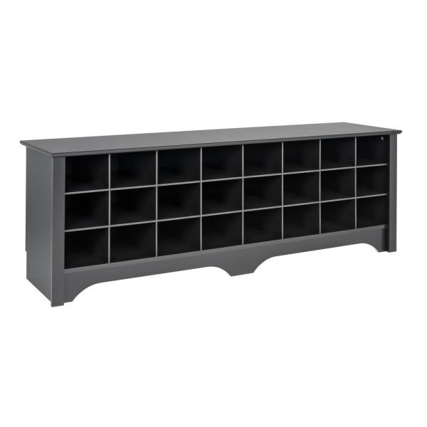 70fc03013f Prepac Black 60 in. Shoe Cubby Bench BSS-6020 - The Home Depot