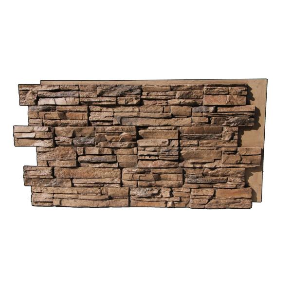 Lightning Ridge 48 in. x 24 in. Class A Fire Rated Faux Stone Siding Panel Finished Pecan