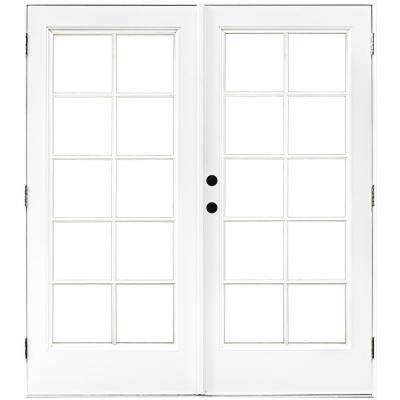 french patio doors outswing 60 inch fiberglass smooth white righthand outswing hinged patio righthandoutswing doors exterior the home depot