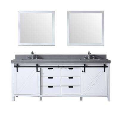 Marsyas 84 in. Double Bath Vanity in White w/ Grey Quartz Top w/ White Square Sinks and 34 in. Mirrors