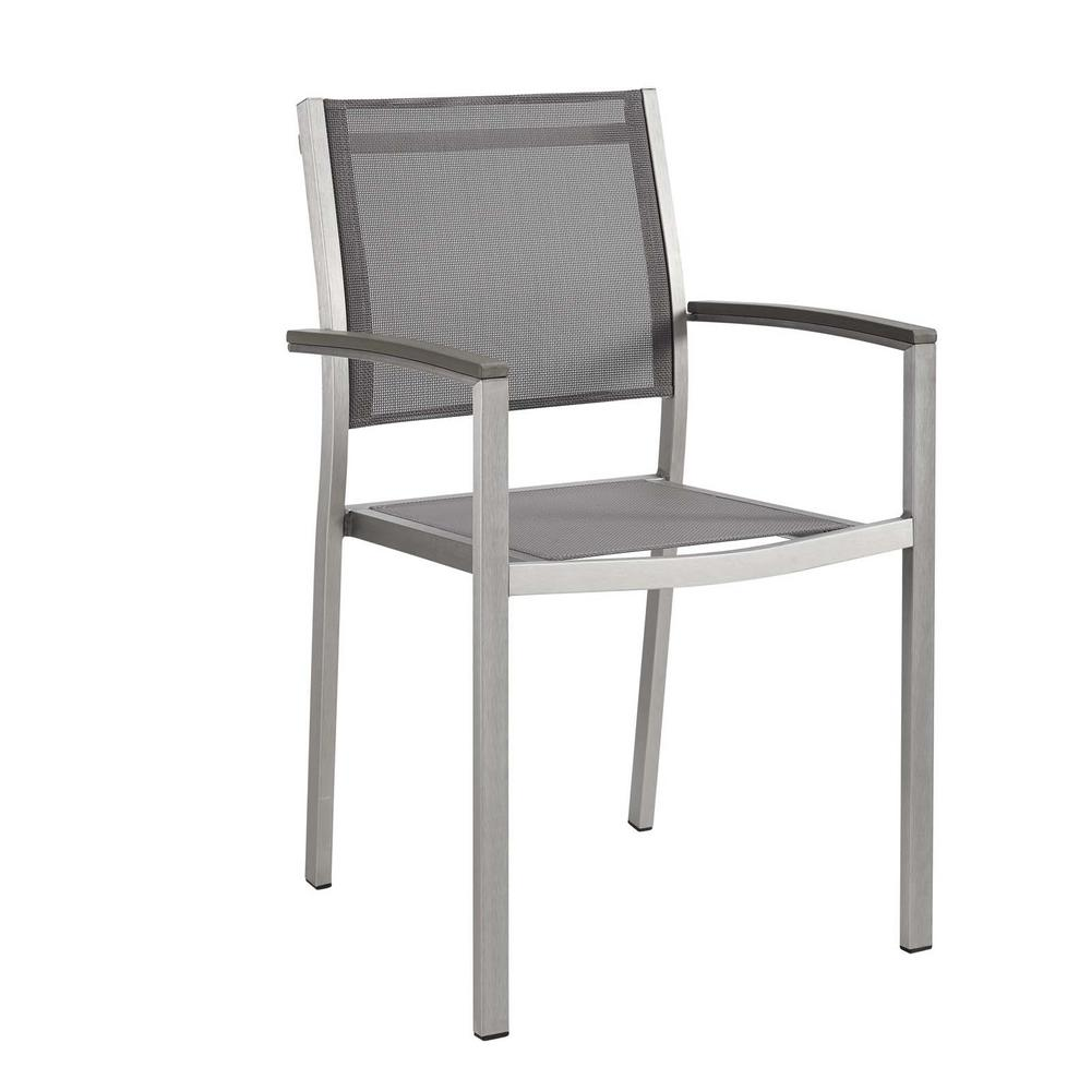 Prime Modway Shore Patio Aluminum Outdoor Dining Chair In Silver Gray Beutiful Home Inspiration Aditmahrainfo