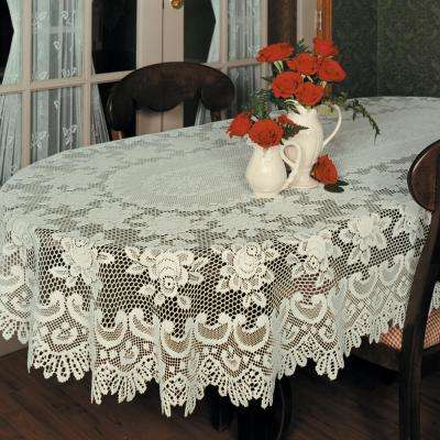 Rose Oval ECRU Polyester Tablecloth
