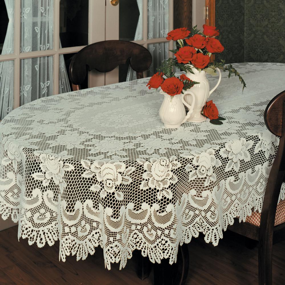 Rose Oval Ecru Polyester Tablecloth