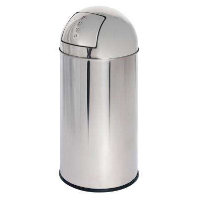 12 Gal. Chrome Round Top Trash Can