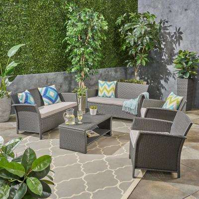 St. Lucia Grey 5-Piece Wicker Patio Conversation Set with Silver Cushions