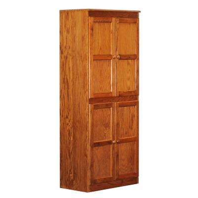 Wood Storage Cabinet, 72 in. with 5 Shelves, Oak Finish