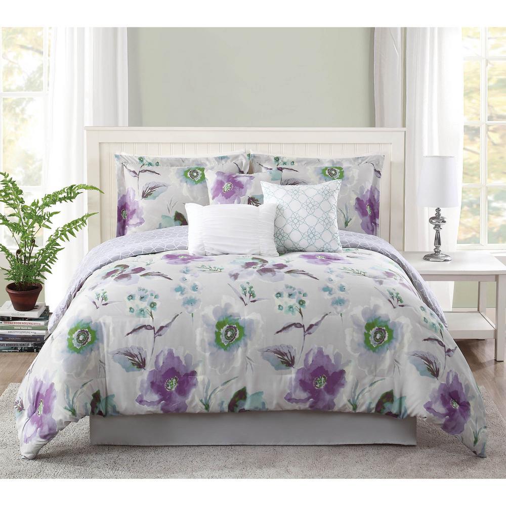 Studio 17 Mariana Lavender/Grey 7-Piece King Comforter Set by