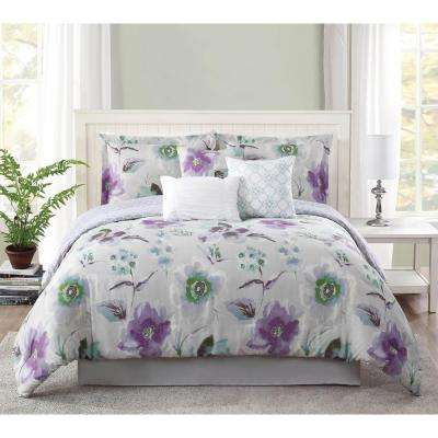 Studio 17 Mariana Lavender/Grey 7-Piece King Comforter Set
