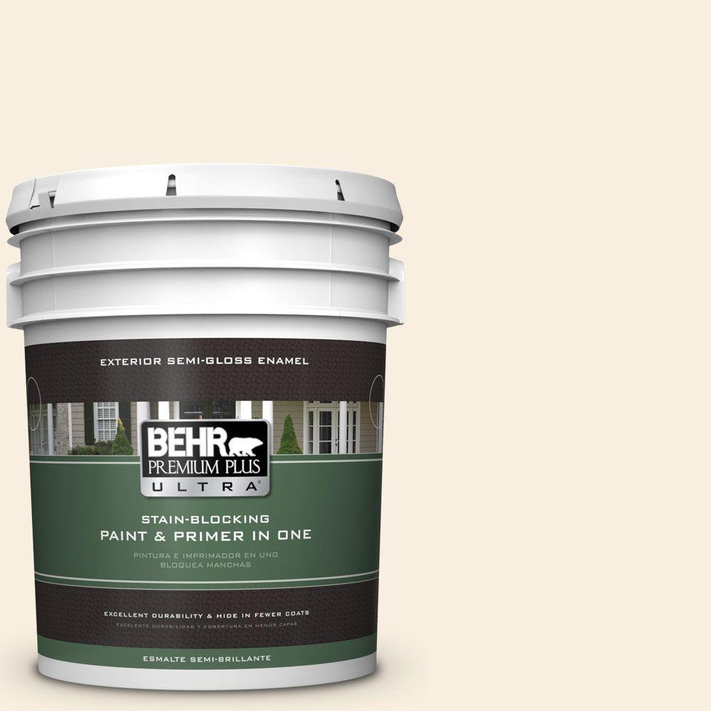 BEHR Premium Plus Ultra 5-gal. #W-F-300 Cotton Whisper Semi-Gloss Enamel Exterior Paint
