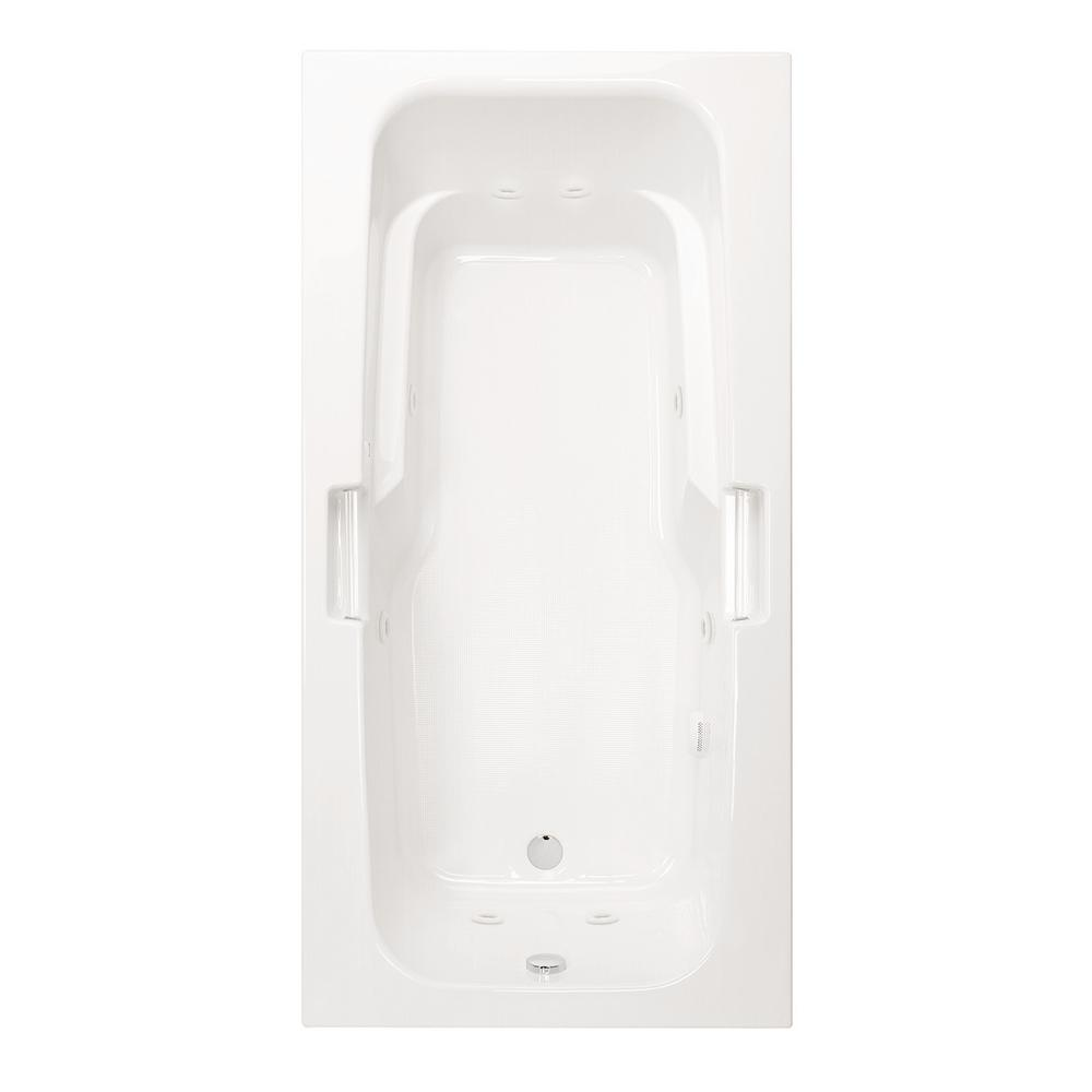 Aquatic Montrose II 6 ft. Acrylic Universal Drain Rectangular Drop-in Whirlpool Bathtub with Heater in White