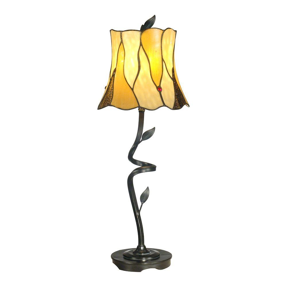 Dale Tiffany 9.75 in. x 25.5 in. Antique Bronze Twisted Leaf Buffet Lamp