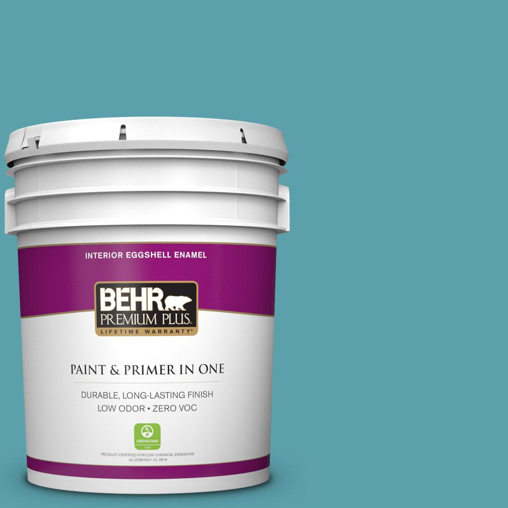 BEHR Premium Plus 5-gal. #BIC-53 Turquoise Eggshell Enamel Interior Paint