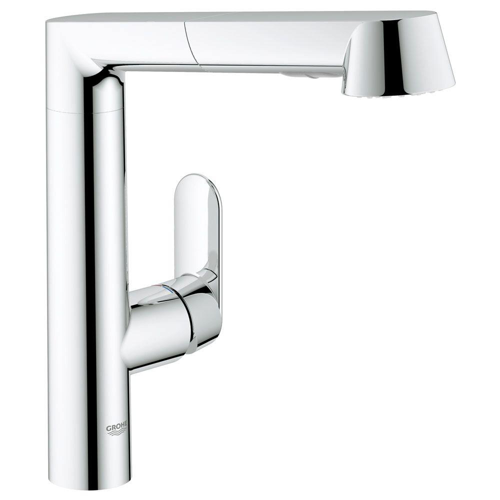 GROHE K7 Single Handle Pull Out Sprayer Kitchen Faucet In Starlight Chrome