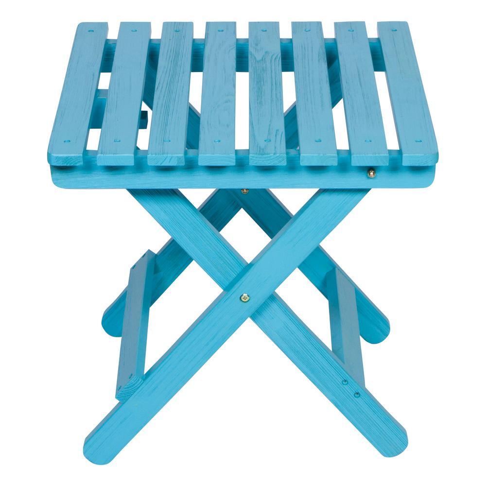 19 in. Tall Aqua HYDRO-TEX Finish Cedar Wood Square Adirondack Outdoor Folding Side Table