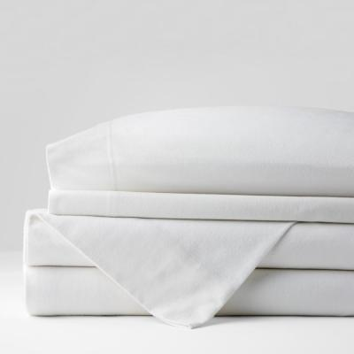 Company Cotton 3-Piece White Solid Flannel Twin Sheet Set