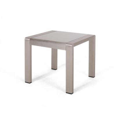 Cape Coral Silver Square Aluminum Outdoor Side Table with Glass Top