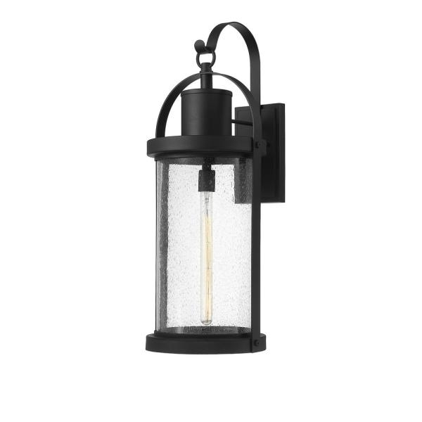 1-Light Black Outdoor Wall Sconce with Clear Seedy Glass Shade