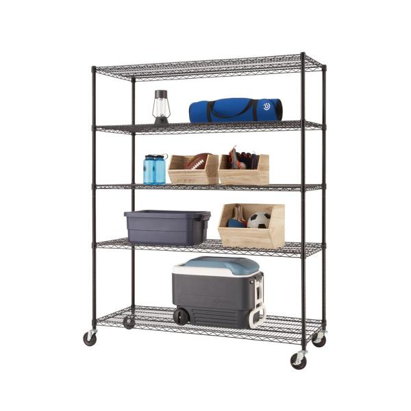 Black 5-Tier Rolling Steel Wire Shelving Unit (60 in. W x 77 in. H x 24 in. D)