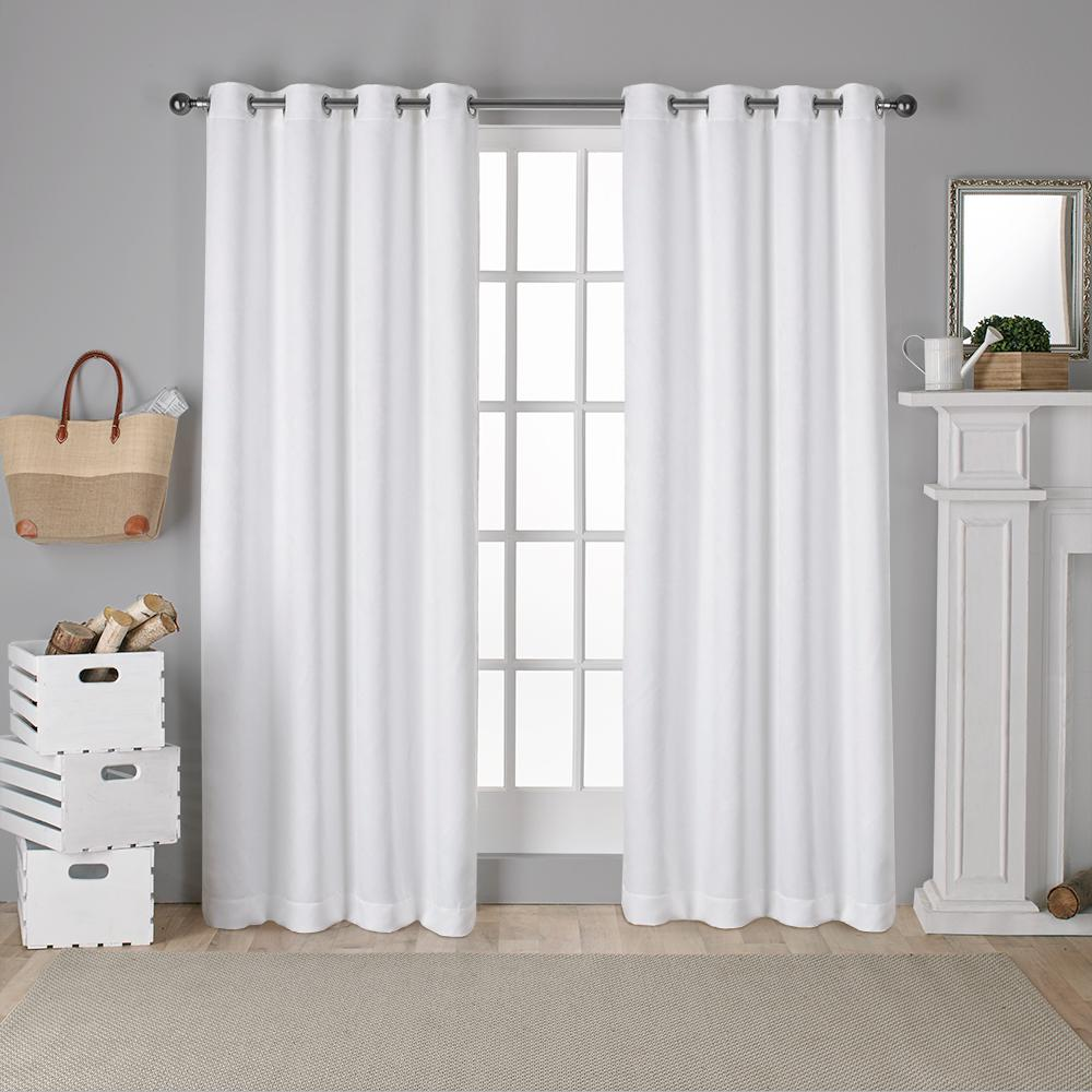Antique Shantung 52 in. W x 96 in. L Woven Blackout Grommet Top Curtain Panel in Winter White (2 Panels)