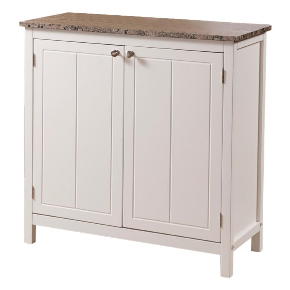 Kings Brand Furniture White With Marble Finish Top Kitchen Storage Cabinet 2431k The Home Depot
