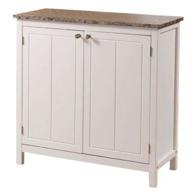 White with Marble Finish Top Kitchen Storage Cabinet