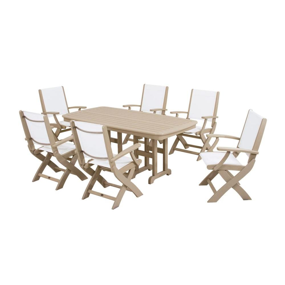 POLYWOOD Coastal Sand 7 Piece Outdoor Patio Dining Set With White Slings