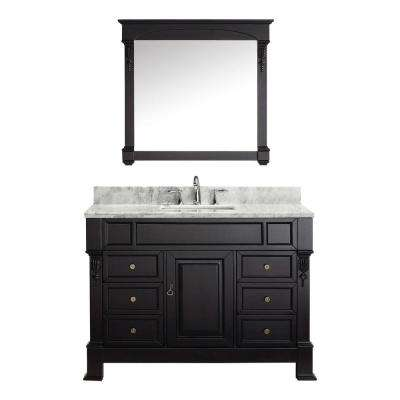 Huntshire Manor 49 in. W Bath Vanity in Dark Espresso with Marble Vanity Top in White with Square Basin and Mirror