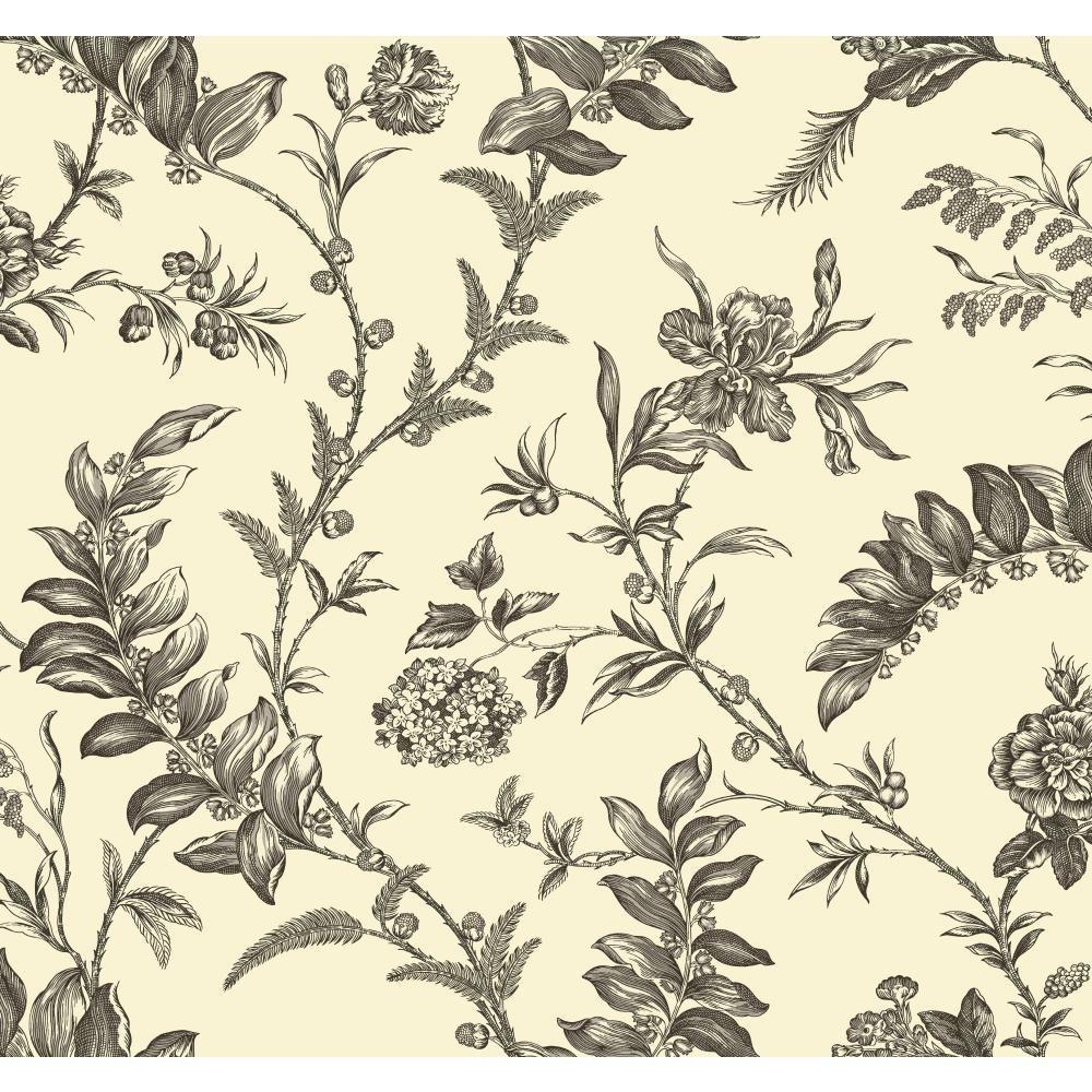YORK Williamsburg Solomon's Seal Wallpaper, Ivory/Grey/Black