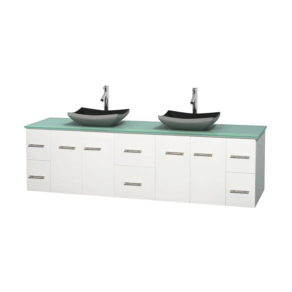 Centra 80 in. Double Vanity in White with Glass Vanity Top