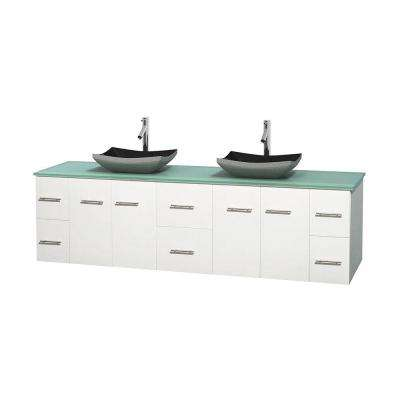 Centra 80 in. Double Vanity in White with Glass Vanity Top in Green and Black Granite Sinks