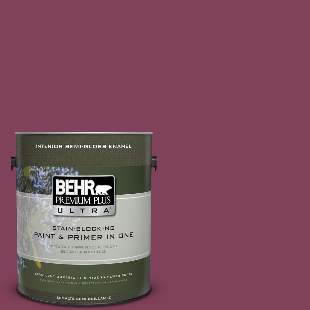 BEHR Premium Plus Ultra Home Decorators Collection 1-gal. #HDC-WR14-12 Cheerful Wine Semi-Gloss Enamel Interior Paint