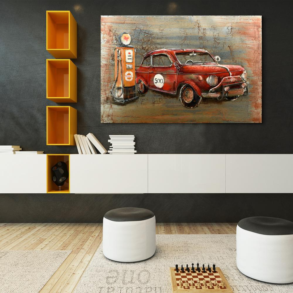 Red Car Mixed Media Iron Hand Painted Dimensional Wall Decor Pmo