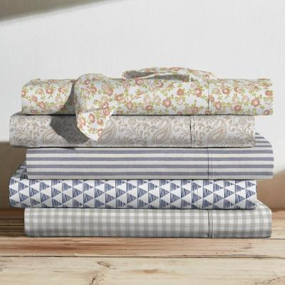 Printed Cotton Sheet Set, Paisley Taupe-Queen