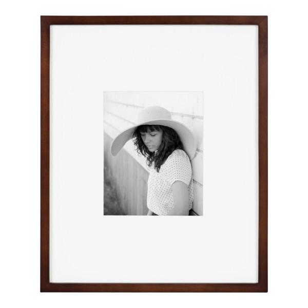 Gallery 16 in. x 20 in. matted to 8 in. x 10 in. Walnut Brown Picture Frame