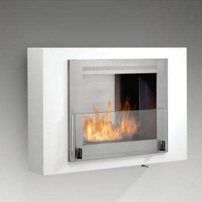 Wellington 33 in. Ethanol Wall Mounted Fireplace in Gloss White with Stainless Interior