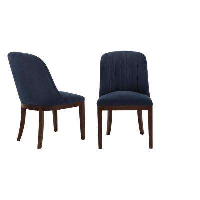 Ingram Upholstered Dining Chair with Channel Tufted Back and Midnight Blue Seat (Set of 2) (26.77 in. W x 36.61 in. H)