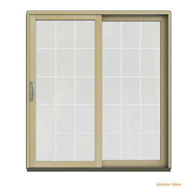 72 in. x 80 in. W-2500 Contemporary Silver Clad Wood Right-Hand 15 Lite Sliding Patio Door w/Unfinished Interior