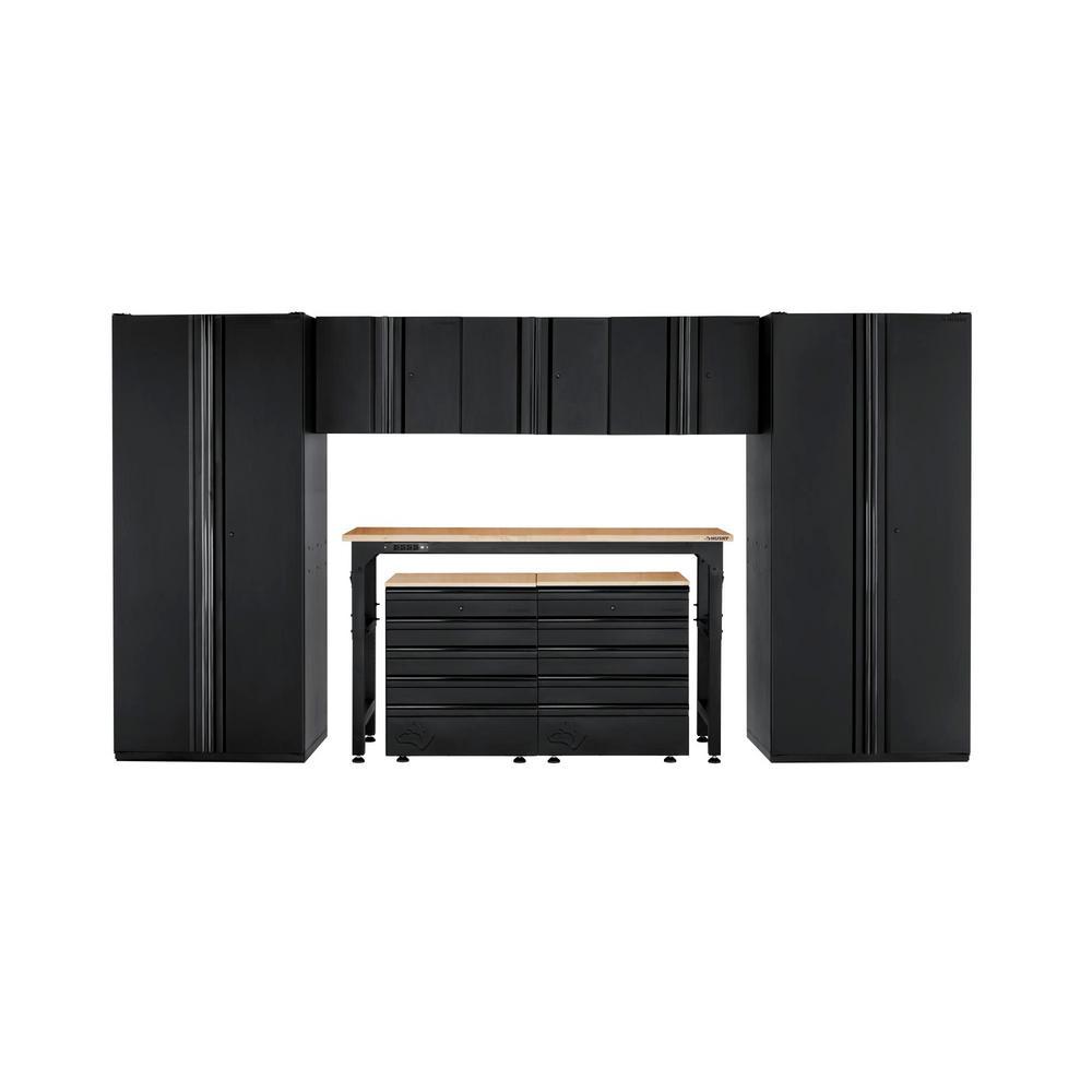 Husky Heavy Duty Welded 156 in. W x 81 in. H x 24 in. D Steel Garage Cabinet Set in Black (8-Piece)