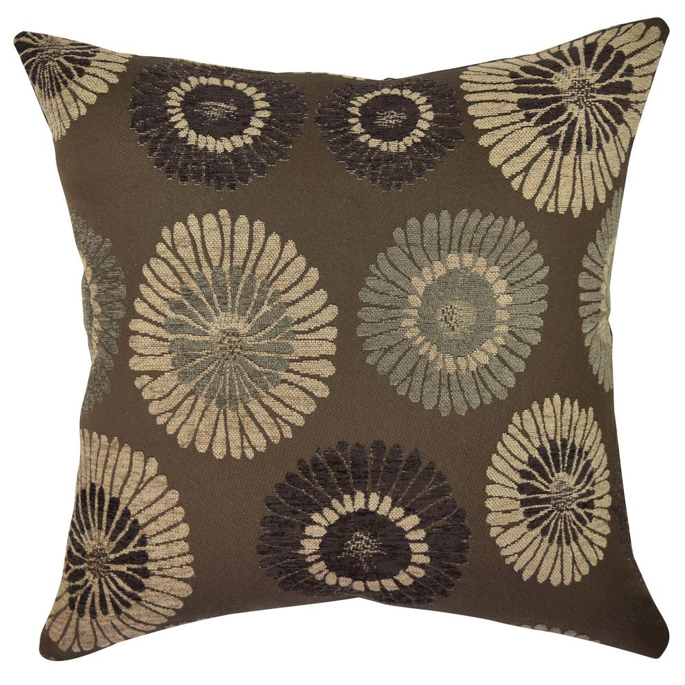 Earth Tone Blooms Designer Throw Pillow